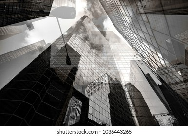 new york skyscrapers layered building complex with lots of glass and lantern futuristic background texture double exposure