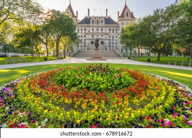 New York State Capitol Building from West Capitol Park in Albany. New York