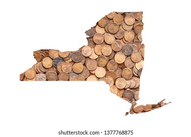 New York State Map and Money Concept, Piles of Coins, Pennies