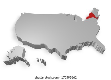 New york state on Map of USA 3d model on white background
