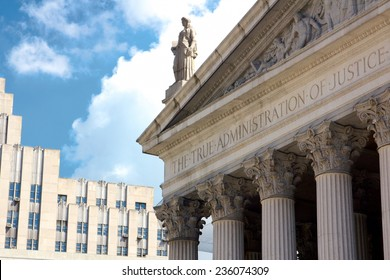 "New York State Supreme Court building in Lower Manhattan showing the words ""The True Administration of Justice"" on its facade in New York, NY, USA."