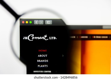New York, New York State, USA - 18 June 2019: Illustrative Editorial of JK Cements website homepage. JK Cements logo visible on display screen.
