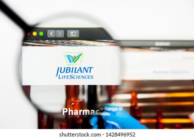 New York, New York State, USA - 18 June 2019: Illustrative Editorial of Jubilant Life Sciences website homepage. Jubilant Life Sciences logo visible on display screen.