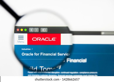 New York, New York State, USA - 18 June 2019: Illustrative Editorial of Oracle Financial Services Software website homepage. Oracle Financial Services Software logo visible on display screen.