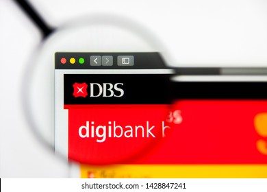 New York, New York State, USA - 19 June 2019: Illustrative Editorial of DBS Bank website homepage. DBS Bank logo visible on display screen.