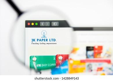 New York, New York State, USA - 19 June 2019: Illustrative Editorial of JK Paper website homepage. JK Paper logo visible on display screen.