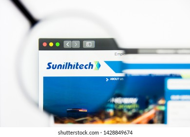 New York, New York State, USA - 19 June 2019: Illustrative Editorial of Sunil Hitech Engineers website homepage. Sunil Hitech Engineers logo visible on display screen.
