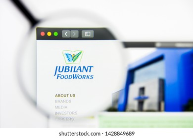 New York, New York State, USA - 19 June 2019: Illustrative Editorial of Jubilant Foodworks website homepage. Jubilant Foodworks logo visible on display screen.