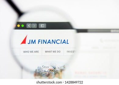 New York, New York State, USA - 19 June 2019: Illustrative Editorial of JM Financial website homepage. JM Financial logo visible on display screen.