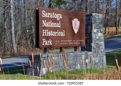 NEW YORK STATE, USA - NOV. 20, 2013: Sign of Saratoga National Historical Park, Saratoga County, Upstate New York, USA. This is the site of the Battles of Saratoga in the American Revolutionary War.
