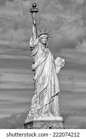 New York statue of liberty black and white vertical isolated silhouette