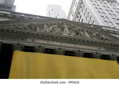 New York Stock Exchange Building with   empty fabric wrapped around columns