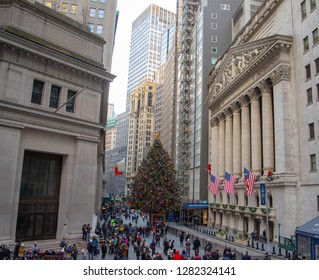 New York Stock Exchange , view from the street. New York, NY, USA -December 30,2018