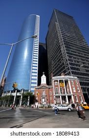 New York street with little church