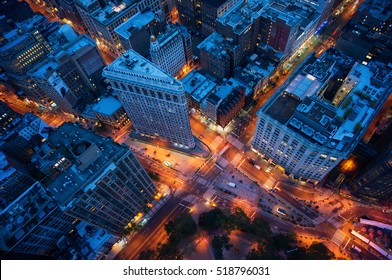 New York streets at night. Aerial view to Manhattan downtown crossing. America theme. Big Apple theme.