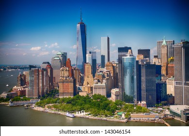 New York. Stunning helicopter view of lower Manhattan Skyline on a summer afternoon.