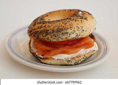 New York Style Bagel with smoked salmon, cream cheese, tomato, onion and capers