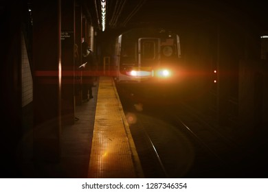 New York Subway car in motion
