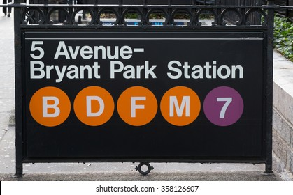 New york subway sign at Fifth Avenue and Bryant Park Station