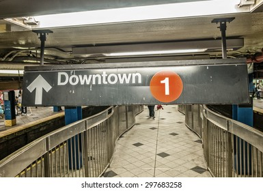 New York subway station. Downtown sign.