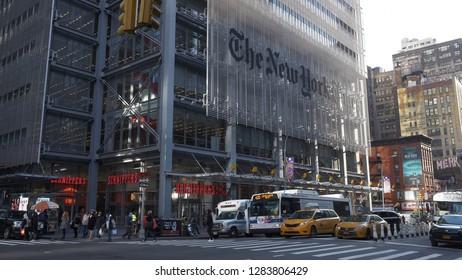 The New York Times building in Manhattan - NEW YORK / USA - DECEMBER 4, 2018