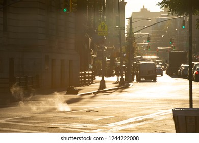 NEW YORK - UNITED STATES - 23 NOVEMBER 2017. Beautiful sunrise in the streets of Manhattan. Manhattan often referred to locally as the City, is the most densely populated borough of New York City.