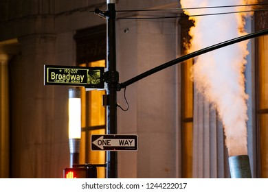 NEW YORK - UNITED STATES - 23 NOVEMBER 2017. Broadway sign in Manhattan. Broadway It is the oldest north–south main thoroughfare in New York City