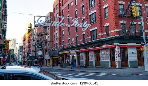 NEW YORK - UNITED STATES - 28 OCTOBER 2017. Early morning in the district of Little Italy in New York. Little Italy is a general name for an ethnic enclave populated primarily by Italians.