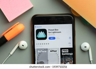 New York, United States - 7 November 2020: Preset Box for Lightroom app store logo on phone screen, Illustrative Editorial.
