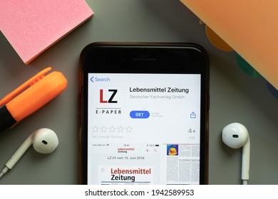 New York, United States - 7 November 2020: Lebensmittel Zeitung app store logo on phone screen, Illustrative Editorial.