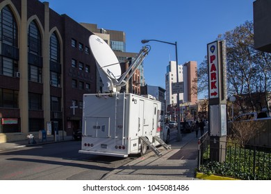 New York, United States of America - November 17, 2016: A news truck in the streets of Manhattan