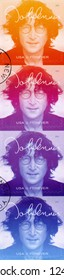 NEW YORK, UNITED STATES OF AMERICA - SEPTEMBER 07, 2018: A stamp printed in USA shows John Winston Ono Lennon (1940-1980), series Music Icons, Forever, 2018