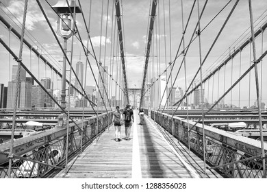 New York, United States of America - 07.08.2014: The City of New York, often called New York City (NYC) or simply New York (NY), is the most populous city in the United States. Brooklyn Bridge
