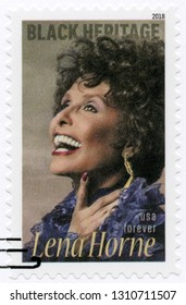 NEW YORK, UNITED STATES OF AMERICA - JANUARY 30, 2018: A stamp printed in USA shows Lena Mary Calhoun Horne (1917-2010), American singer and civil rights activist, Black Heritage, Forever, 2018