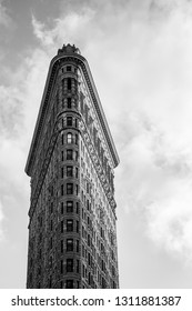 New York, United States of America - November 19, 2016: Exterior view of the famous Flatiron building in black and white.