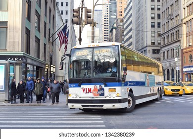 New York, United States of America- March, 8, 2019: Bus of Metropolitan Transportation Authority (MTA) on the city street.