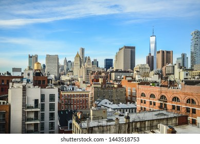 NEW YORK / UNITED STATES OF AMERICA - CIRCA March, 2018: Manhattan view from the rooftops