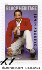 NEW YORK, UNITED STATES OF AMERICA - JANUARY 28, 2019: A stamp printed in USA shows Gregory Oliver Hines (1946-2003), series Black Heritage, 2019