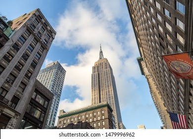 New York, United States of America - November 19, 2016: Low angle view of the Empire State Building.