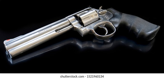 New York / United States of America - 05/13/2019: Smith & Wesson 357 magnum revolver
