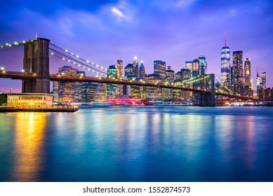 New York, United States of America - Panoramic view of Lower Manhattan, Brooklyn Bridge and Freedem Tower.