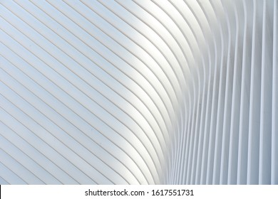 New York, United States of America - September 19, 2019: Exterior view of the roof structure of the World Trade Center train station, also called Oculus