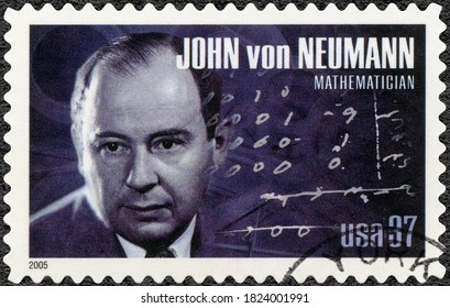 NEW YORK, UNITED STATES OF AMERICA - MAY 04, 2005: A stamp printed in USA shows portrait of John von Neumann (1903-1957), mathematician, series American Scientists, 2005