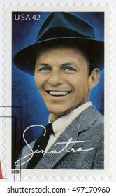 NEW YORK, UNITED STATES OF AMERICA - MAY 13, 2008: A stamp printed in USA shows Francis Albert Frank Sinatra (1915-1998), American singer, actor, and producer