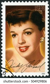 NEW YORK, UNITED STATES OF AMERICA - JUNE 10, 2006: A stamp printed in USA shows portrait Judy Garland (1922-1969), Frances Ethel Gumm, series Legends of Hollywood