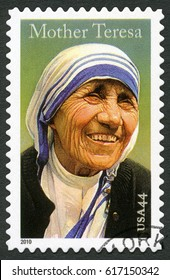 NEW YORK, UNITED STATES OF AMERICA - SEPTEMBER 05, 2010: A stamp printed in USA shows Mother Teresa (1910-1997)