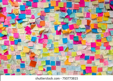New York, United States of America - November 21, 2016: Sticky post-it notes on wall in Union Square subway station in NYC as protest against presidential election results