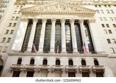 New York, New York / United States - April 5, 2018: New York Stock Exchange building