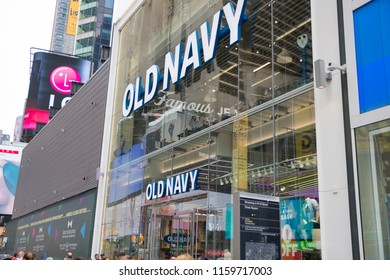 New York, United States, August 18, 2018:Old Navy store exterior. Old Navy is a clothing and accessories retailer owned by American multinational corporation Gap Inc.