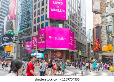 New York, United States, August 18, 2018:T-Mobile Retail Wireless Store. T-Mobile is a Wireless Provider Offering Cell Phones, Data Plans, Internet Devices & Accessories III
